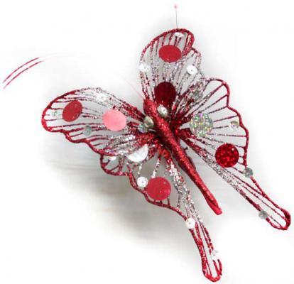 Украшение Winter Wings Бабочка красный 20 см 1 шт полимер N069849 украшение winter wings птичка лесная сказка красный 14х10 см 1 шт полимер n180342