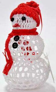 Украшение Winter Wings Снеговик вязаный белый 7х13 см 1 шт хлопок N180242/БЕЛ