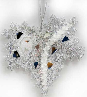 Купить Украшение Winter Wings Клен серебро 13 см 1 шт пластик N069877, Елочные украшения