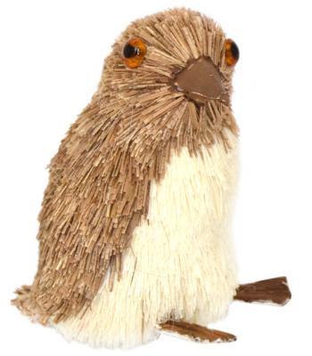 Купить Украшение Winter Wings Пингвин коричневый 7*5*8 см 1 шт соломка N181227, Елочные украшения
