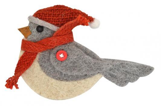 Купить Украшение Winter Wings Птичка серый 17 см 1 шт полиэстер, Елочные украшения