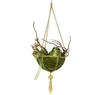 Украшение Winter Wings Птички в гнезде зеленый 20 см 1 шт полирезин