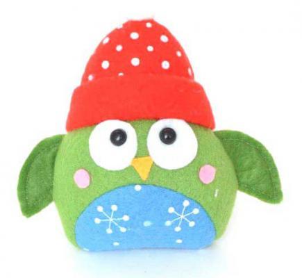 Купить Украшение Winter Wings Сова в шапке 1 шт полиэстер, разноцветный, 10*13 см, Елочные украшения