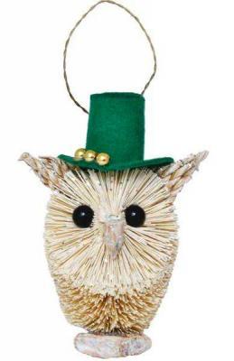 Купить Украшение Winter Wings Сова в шляпе бежевый 12 см 1 шт соломка, Елочные украшения