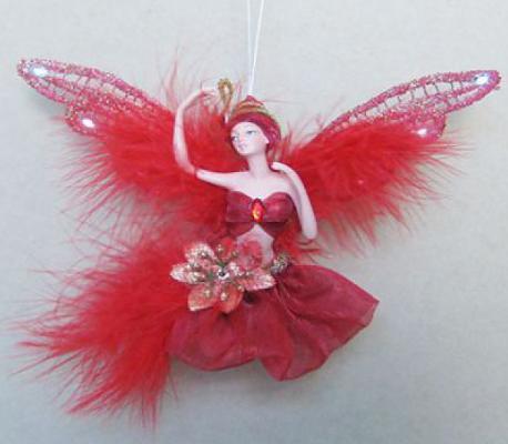 Украшение Winter Wings Фея в красном платье красный 15 см 1 шт полирезин