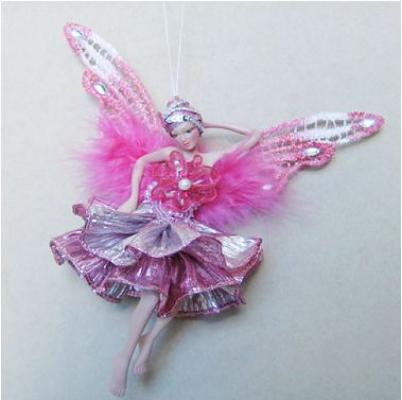 Украшение Winter Wings Фея в розовом платье розовый 15 см 1 шт полирезин