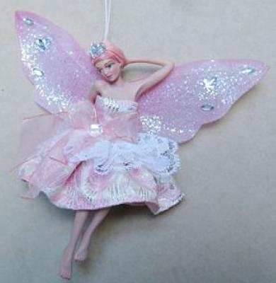 Украшение Winter Wings Фея в светло-розовом платье розовый 15 см 1 шт полирезин