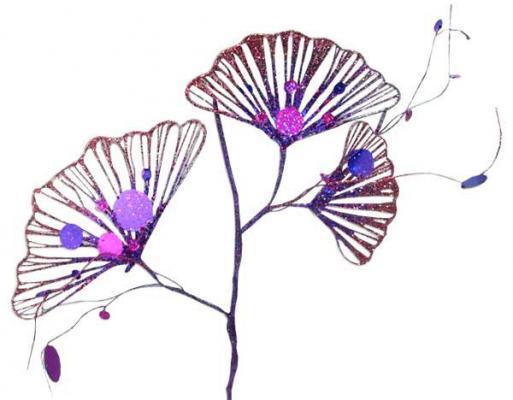 Украшение Winter Wings Цветок веер фиолетовый 43х19 см 1 шт пластик украшение winter wings цветок полоска фиолетовый 16 см 1 шт n069868 ф
