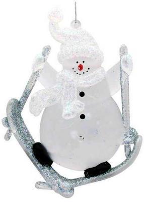Елочные украшения — Снеговик прозрачный 6 см 1 шт N06780