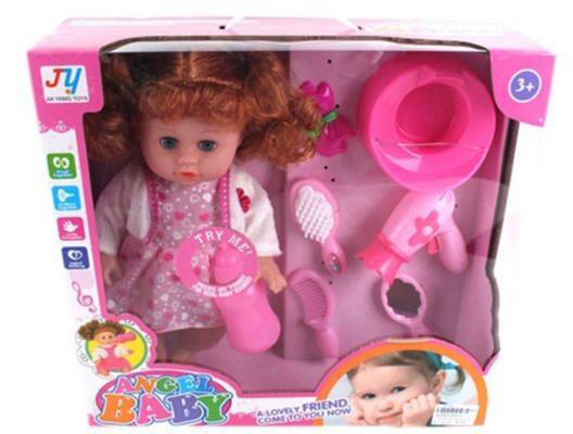 Кукла 35 см с аксесс. 6 предм., звук, батар.в компл.вх., кор. кукла весна 35 см