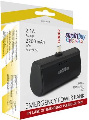 Внешний аккумулятор Power Bank 2200 мАч Smart Buy Turbo SBPB-200 черный