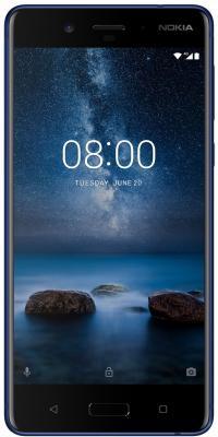 Смартфон NOKIA 8 синий 5.3 64 Гб NFC LTE Wi-Fi GPS 11NB1L01A16 смартфон nokia 3 dual sim черный 5 16 гб lte wi fi gps nfc 11ne1b01a09