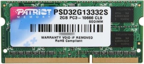 Оперативная память для ноутбуков SO-DDR3 2Gb PC10600 1333MHz Patriot PSD32G13332S