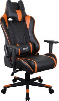 Картинка для Кресло компьютерное игровое Aerocool AC220 AIR-BO  черно-оранжевое с перфорацией 4713105968408