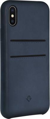 Накладка Twelve South Relaxed Leather для iPhone X синий 12-1740 чехол twelve south bookbook для iphone 5 в спб