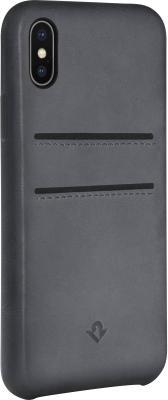 Накладка Twelve South Relaxed Leather для iPhone X серый 12-1739 чехол twelve south bookbook для iphone 5 в спб