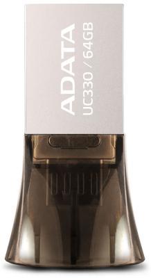Флешка USB 64Gb A-Data UC330 USB2.0/MicroUSB AUC330-64G-RBK серебристый черный флешка usb 64gb a data uc330 usb2 0 microusb auc330 64g rbk серебристый черный