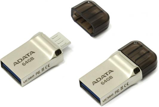 Флешка USB 64Gb A-Data UC360 USB3.1/MicroUSB AUC360-64G-RGD золотистый цена и фото