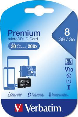 Карта памяти Micro SDHC 8GB Class 10 Verbatim 44012 карта памяти sdhc micro verbatim 32gb 44044