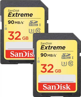 Карта памяти SDHC 32Gb Class 10 Sandisk SDSDXVE-032G-GNCI2 2шт securedigital 32gb sandisk extreme pro sdhc class 10 uhs i u3 sdsdxxg 032g gn4in
