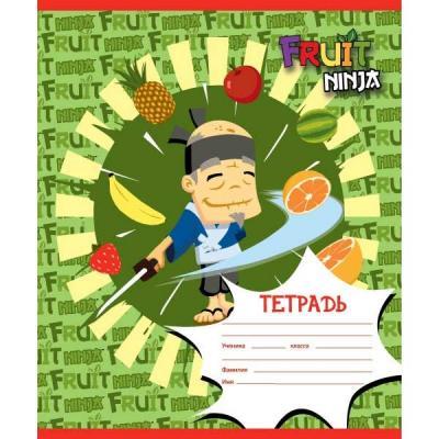Тетрадь школьная Action! Fruit Ninja 24 листа клетка скрепка FN-AN 2402/