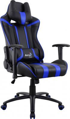 Картинка для Кресло компьютерное игровое Aerocool AC120 AIR-BB черно-синее с перфорацией 4713105968323