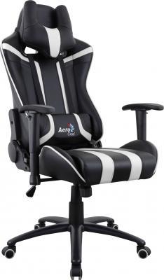 Кресло компьютерное игровое Aerocool AC120 AIR-BW черно-белое с перфорацией 4713105968354 цена