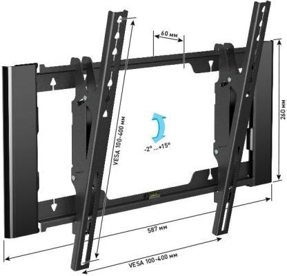 Кронштейн Holder T4925-B черный для ЖК ТВ 26-55 настенный наклон до 40 кг кронштейн для тв wize wup55 black