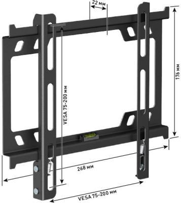 Кронштейн Holder F2617-B черный для ЖК ТВ 22-40 настенный фиксированный до 25 кг holder lcds 5065 black gloss кронштейн для тв