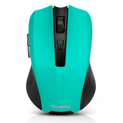 Мышь беспроводная Sven RX-345 чёрный зелёный USB + радиоканал SV-014193