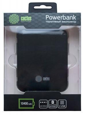 Внешний аккумулятор Power Bank 10400 мАч Cactus CS-PBHTST-10400 черный alliance 347 18 4 38 tt