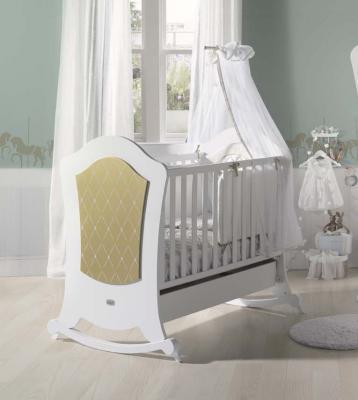 Купить Кроватка-качалка Micuna Alexa BIG Relax (white/gold), белый, массив бука / МДФ, Кроватки без укачивания