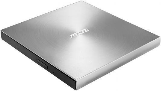 Внешний привод DVD±RW ASUS SDRW-08U9M-U/SIL/G/AS/P2G USB 2.0 серебристый Retail �������������� ������������ blu ray asus sbw 06d2x u blk g as slim usb2 0 retail ������������