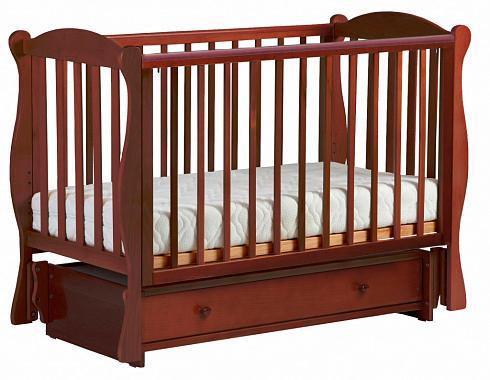 Купить Кровать с маятником Кубаночка-6 БИ 42 (орех темный 35), тёмный орех, дерево, Кроватки с маятником