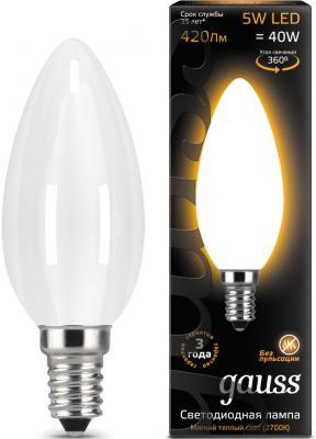 Лампа светодиодная свеча Gauss Filament E14 5W 2700K 103201105