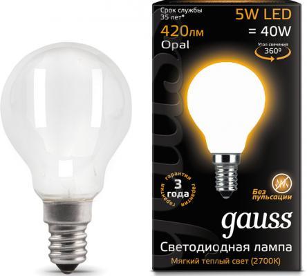 Лампа светодиодная шар Gauss Filament E14 5W 2700K 105201105