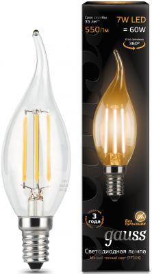 Лампа светодиодная свеча на ветру Gauss Filament E14 7W 2700K 104801107