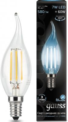Фото - Лампа светодиодная свеча на ветру Gauss Filament E14 7W 4100K 104801207 лампа светодиодная gauss 104801107 s led filament свеча на ветру e14 7w 550lm 2700k step dimmable