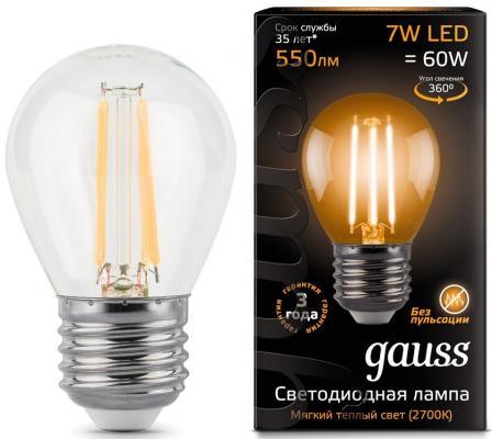 Лампа светодиодная груша Gauss 105802107 E27 7W 2700K