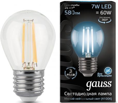 Лампа светодиодная груша Gauss Filament E27 7W 4100K 105802207