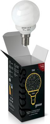 Лампа энергосберегающая шар Gauss E14 9W 2700K 231109