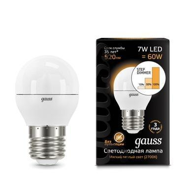 Лампа светодиодная шар Gauss E27 7W 2700K 105102107-S gauss лампа светодиодная диммируемая gauss шар матовый e27 7w 3000к 105102107 d