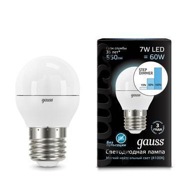 Лампа светодиодная диммируемая E27 7W 4100K шар матовый 105102207-S gauss лампа светодиодная gauss шар матовый e27 6w 4100k 53226