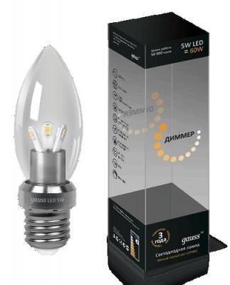 Лампа светодиодная диммируемая E27 5W 2700K свеча прозрачная HA103202105-D