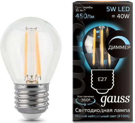 Купить Лампа светодиодная диммируемая филаментная E27 5W 4100К груша прозрачная 105802205-D, Gauss