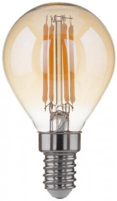 Лампа светодиодная филаментная Classic F E14 6W 3300K шар золотой 4690389108303 лампа светодиодная classic f e14 6w 4200k шар матовый 4690389108310