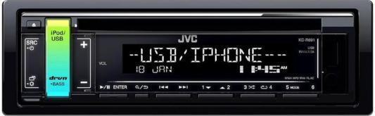 Автомагнитола JVC KD-R691 USB MP3 CD FM RDS 1DIN 4x50Вт черный автомагнитола kenwood kmm 103ry usb mp3 fm rds 1din 4х50вт черный