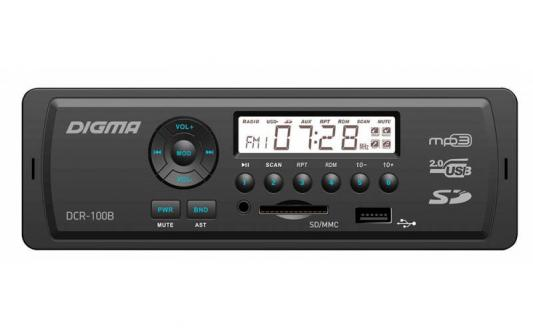 Автомагнитола Digma DCR-100B24 USB MP3 FM 1DIN 4x45Вт черный автомагнитола digma dcr 300b usb mp3 fm 1din 4x45вт черный