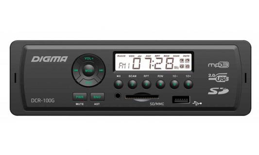 Автомагнитола Digma DCR-100G24 USB MP3 FM 1DIN 4x45Вт черный автомагнитола digma dcr 100b24
