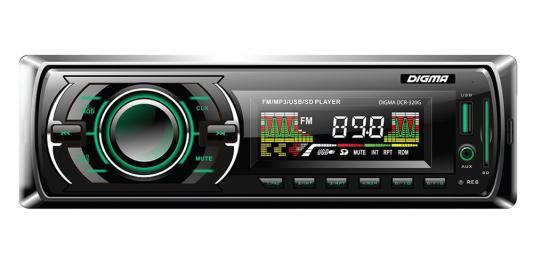 Автомагнитола Digma DCR-320G USB MP3 FM 1DIN 4x45Вт черный автомагнитола digma dcr 110g24 usb mp3 fm 1din 4x45вт черный